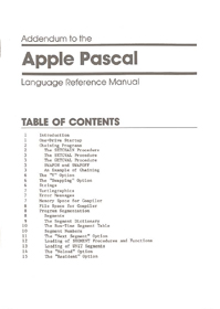Apple Pascal Language Reference Manual Addendum